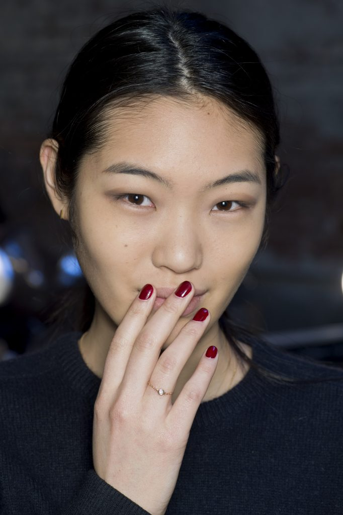 FOR EDITORIAL USE ONLY. Derek Lam Backstage New York Ready to Wear. Autumn/Winter 2015. Japanese model Chiharu Okunugi. ADDITIONAL IMAGES AVAILABLE ON REQUEST.